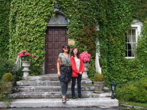 Mary & Maria on the steps of Lisdonagh House, the ancestral home of Eva O'Flaherty