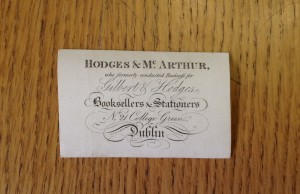 Emily's grandfather's business Card of. Courtesy of the National Library of Ireland