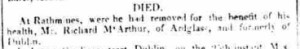 Richard McArthur's Death notice in the Drogheada Herald