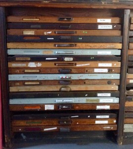 Drawers of print typefaces used in the print trade. Curtesy of The National Print Museum