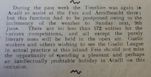 A Gaelic League event advertised in the Cliadheamh Soulis in 1907