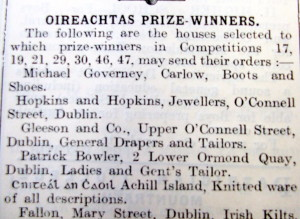 Oireachtas Prizes from 1914. Achill Knitwear sponsored a prize