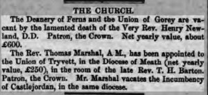 Job for Rev Burke, Dublin Evening Mail 12 March 1862. p4
